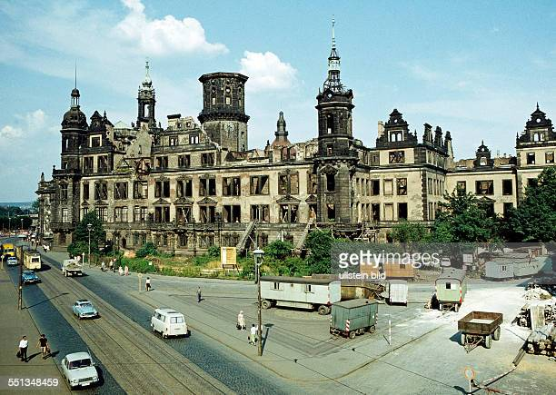 Ruin of Dresden Castle which was destroyed after the bombing of Dresden in World War II