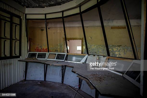 Ruin of general headquarters on a territory of exSoviet secret army compound 'Skrunda1' which now is a ghost town and Cold War era museum May 22 2016...