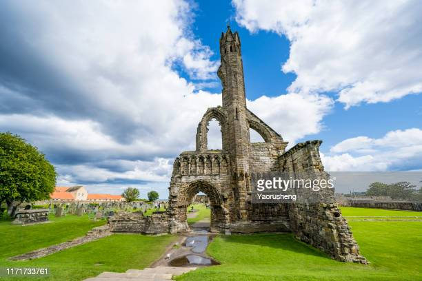 ruin of st andrews cathedral in st andrews, scotland - st. andrews scotland stock pictures, royalty-free photos & images