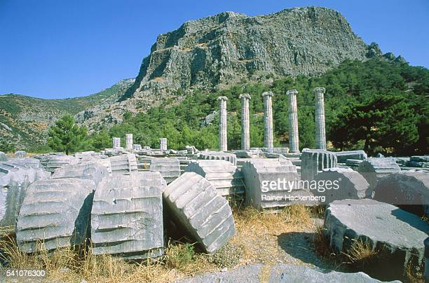ruin of the athena temple in priene, turkey - priene stock photos and pictures