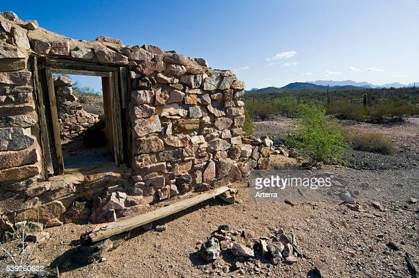 Ruin of the long abandoned gold and silver Victoria mine Organ Pipe Cactus National Monument Arizona US