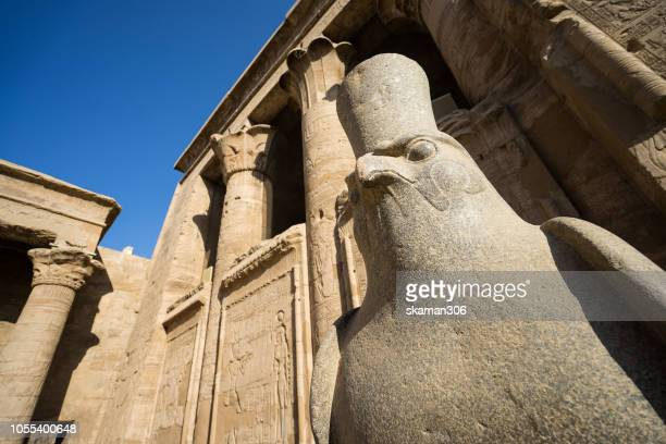 ruin statue of egypt god horus at edfu temple near edfu city egypt - egyptian artifacts stock pictures, royalty-free photos & images