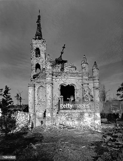 A ruined and bulletridden church damaged in the Siege of Vukovar during the Croatian War of Independence 1991