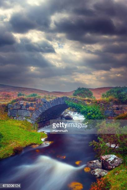 ruined bridge at the poisoned glen in county donegal, ireland - county donegal stock photos and pictures
