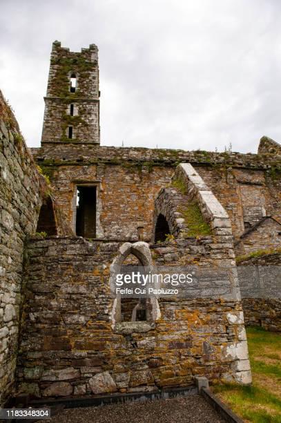 ruined building at cemetery of timoleague, cork county, ireland - abadia mosteiro - fotografias e filmes do acervo