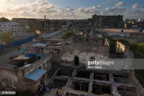 Ruined buildings close to the sea in Mogadishu