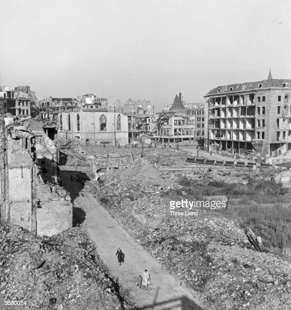 Ruined buildings in the centre of Essen in the Ruhr A road has been laid through the rubble for residents