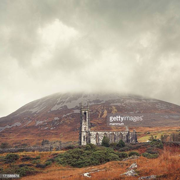ruined church in ireland - county donegal stock photos and pictures