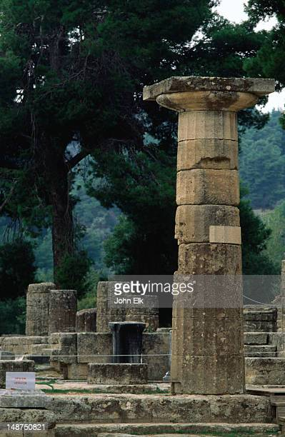 Ruined columns at the Temple of Hera, Ancient Olympia