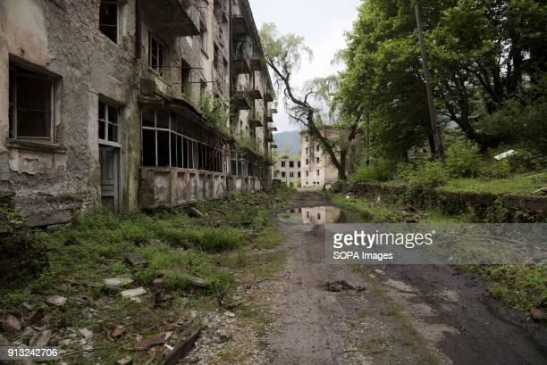 TSKVARCHELI TKVARCHELI ABKHAZIA GEORGIA Ruined house in the abandoned Soviet coal mining city of Tkvarcheli Abkhazia is a partially recognized state...