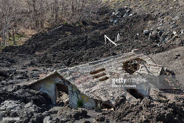 ruined house on mount etna - destruction stock pictures, royalty-free photos & images