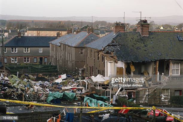 Ruined houses in the town of Lockerbie, after the bombing of Pan Am Flight 103 from London to New York, December 1988.