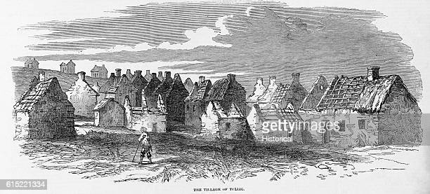 Ruined houses in the village of Tullig Ireland In 1849 citizens of Tullig suffered under severe poverty despite the newly enacted Poor Laws in Great...