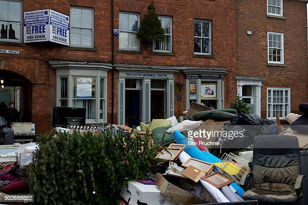 Ruined property from Tadcaster business centre is pilled outside for collection on December 28 2015 in Tadcaster England Heavy rain over the...