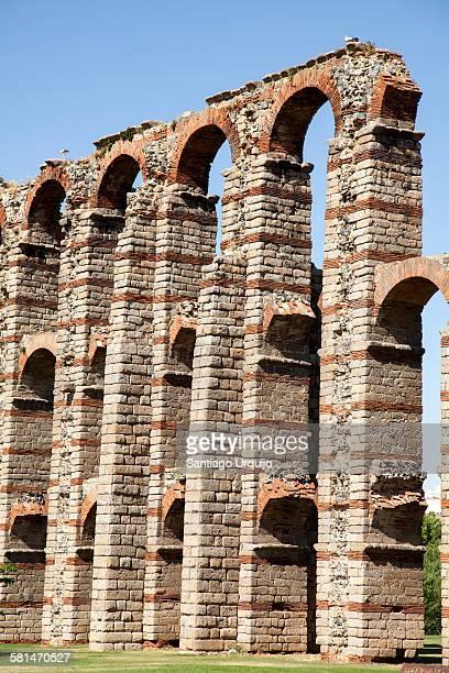 Ruined Roman aqueduct bridge of Los Milagros
