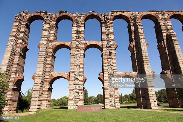 Ruined Roman aqueduct bridge of Merida