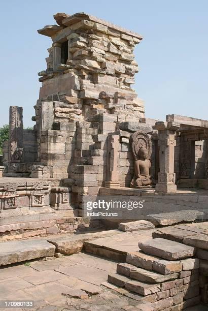Ruined sculptures at Sanchi Madhya Pradesh India
