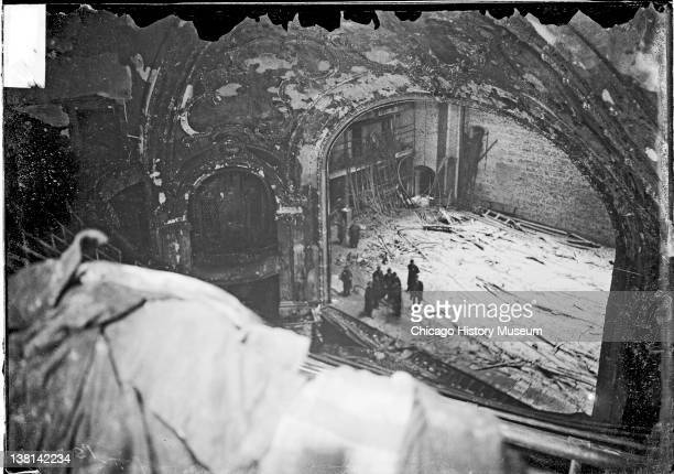 Ruined stage of the Iroquois Theater after the fire looking down from the balcony Chicago Illinois January 4 1904
