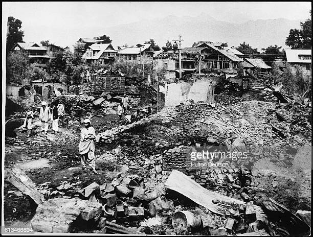 A ruined village in Jammu and Kashmir India during the war between India and Pakistan 1965 | Location State of Jammu and Kashmir India