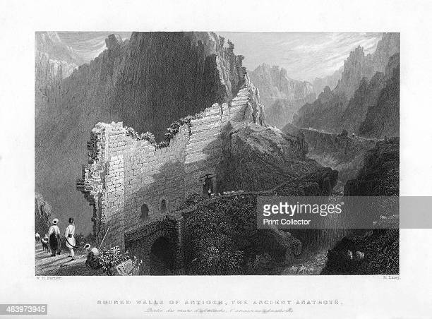 'Ruined Walls of Antioch the Ancient Anathoth' 1841 View of ancient remains in what is now Turkey Illustration from Syria the Holy land and Asia...