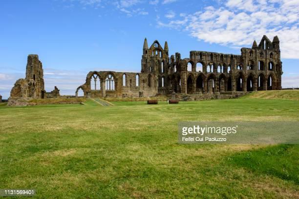 ruined whitby abbey in north yorkshire, england - abadia mosteiro - fotografias e filmes do acervo