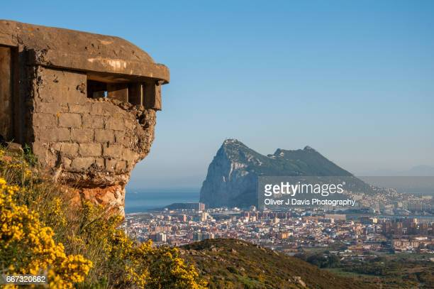 Ruined WWII Fortification overlooking the Rock of Gibraltar