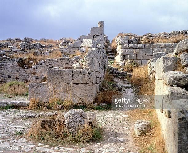 Ruins in ancient Thera Santorini Greece Greek Civilization 4th1st Century BC