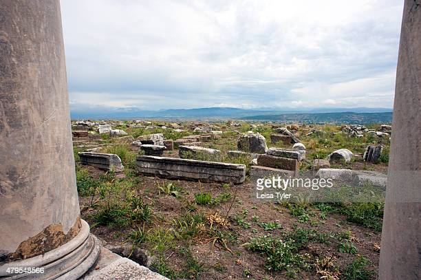 Ruins in Pergamon, an ancient Greek city in modern Bergama, Turkey.