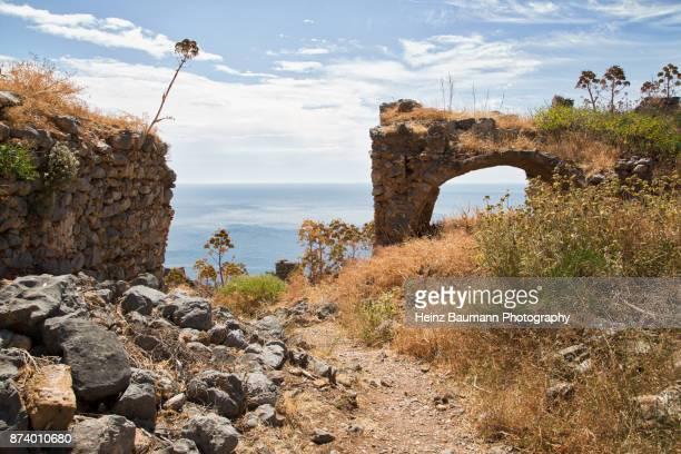 Ruins near the Byzantine church of Agia Sophia, Monemvasia, Peloponnese, Greece