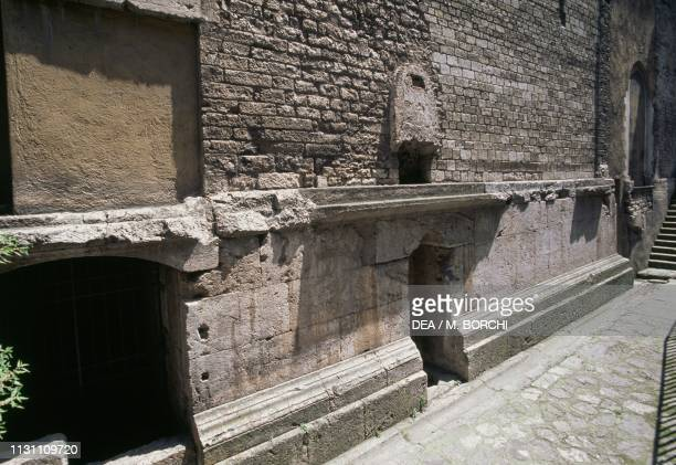 Ruins of a 1st century Roman temple incorporated in the church of Saint'Ansanus, 12th century, Spoleto, Umbria, Italy.