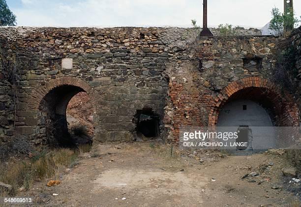 Ruins of a building in the copper mine of Sao Domingos active in the 19th century Alentejo Portugal