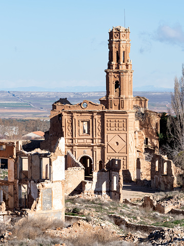 Ruins of a church destroyed by war. San Agustin church. Belchite, province of Saragossa, Aragon, Spain. - gettyimageskorea