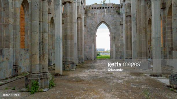 ruins of a church - klooster stockfoto's en -beelden