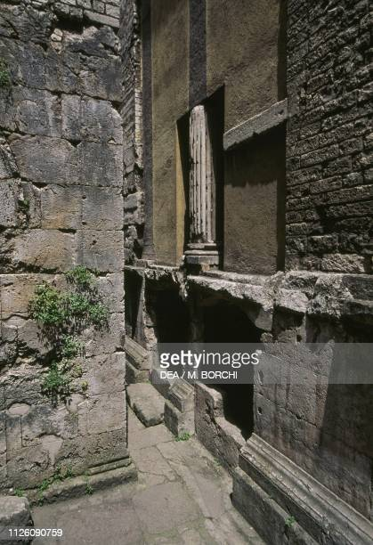 Ruins of a first-century Roman temple, incorporated into the Church of St Ansanus, 12th century, Spoleto, Umbria, Italy.