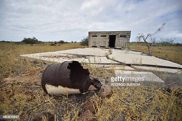 Ruins of a former US military base in the island of Baltra one of Galapagos islands Ecuador on July 15 2015 The Seymour Airport the first Green...
