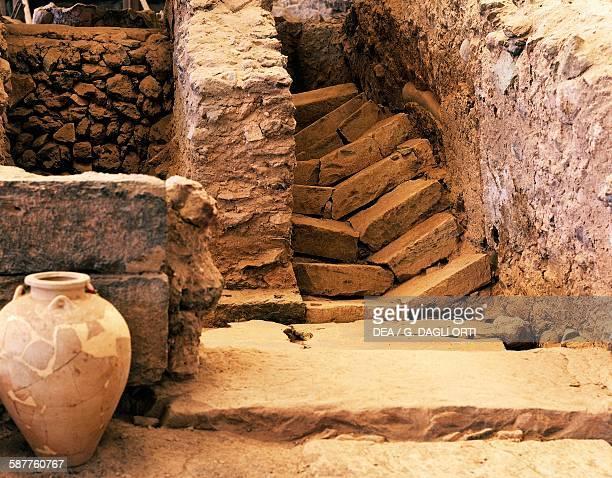 Ruins of a house and amphora archaeological site of Akrotiri Santorini island Greece Greek civilisation 20th17th century BC