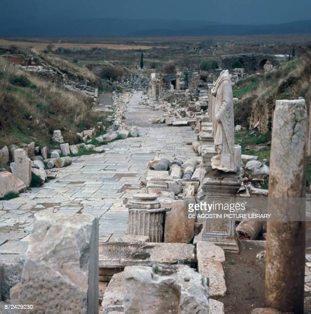 Ruins of a marble street in Ephesus ancient Greek city on the coast of Ionia Izmir Province Turkey 15th14th century BC