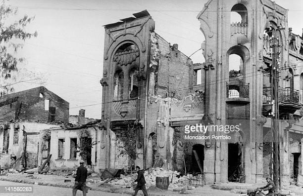 Ruins of a palace in Chisinau as the city is being reoccupied by Romanian troops Chisinau July 1941