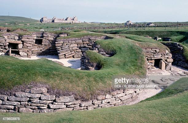 Ruins of a prehistoric Neolithic village of Skara Brae Orkney Islands Scotland United Kingdom