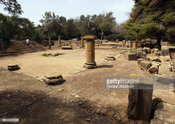 Ruins of a temple are pictured 14 August 2002 at the historic site of Tipasa On he Shores of the Mediterranean Tipasa was an ancient Punic...
