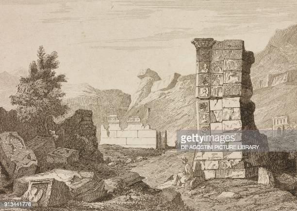 Ruins of a triumphal arch of a temple in Petra Jordan engraving from Arabie by Noel Desvergers avec une carte de l'Arabie et note by Jomard L'Univers...