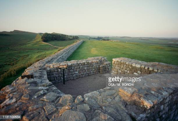 Ruins of a watchtower along Hadrian's Wall near Housesteads England United Kingdom Roman civilization 2nd century