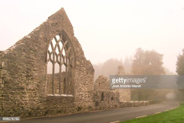 ruins of abbey in portumna - abby road stock photos and pictures