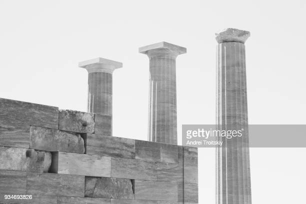 Ruins of Acropolis of Lindos, Rhodes, Dodecanese Islands, Greek Islands, Greece