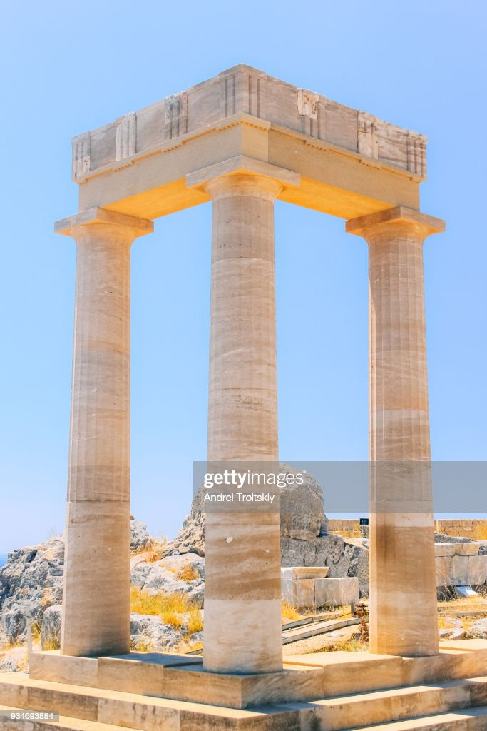 Ruins of Acropolis of Lindos, Rhodes, Dodecanese Islands, Greek Islands, Greece : Stock Photo