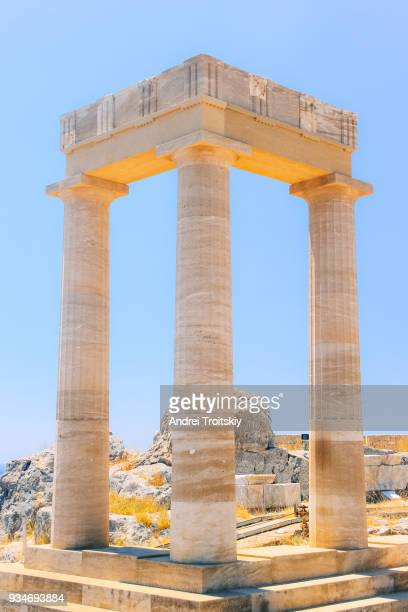 ruins of acropolis of lindos, rhodes, dodecanese islands, greek islands, greece - ancient greece photos stock pictures, royalty-free photos & images