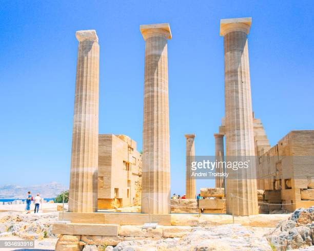ruins of acropolis of lindos, rhodes, dodecanese islands, greek islands, greece - lindos stock photos and pictures