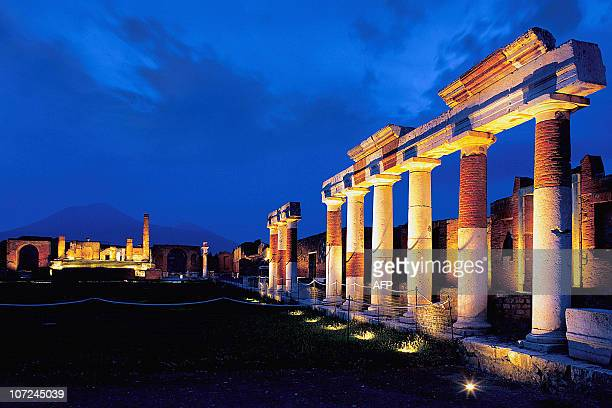 Ruins of an ancient Pompeii temple are spotlighted for after dark tours for the first time late 26 September 2002 enabling tourists to visit the...