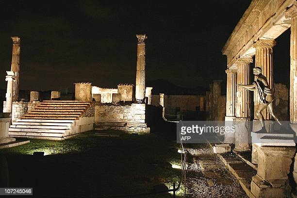 Ruins of an ancient Pompeii temple spotlighted for after dark tours for the first time late 26 Sepetmber 2002 enablng tourists to visit the ruins at...
