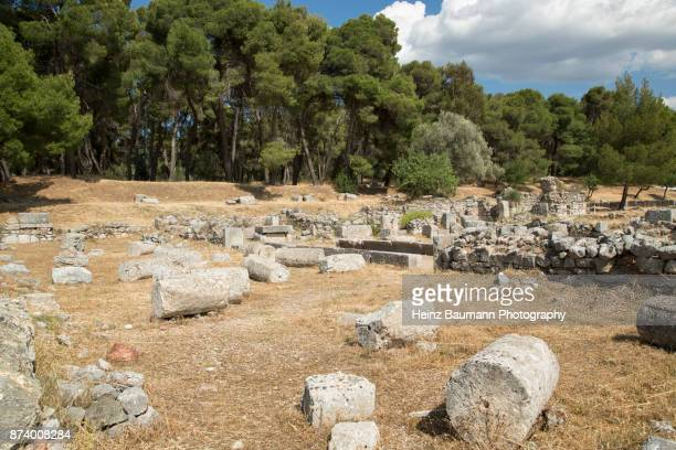 Ruins of ancient town of Epidaurus, (Epidavros), Peloponnese, Greece
